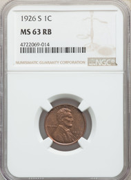 1926-S 1c Lincoln Cent NGC MS63RB