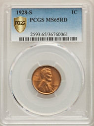 1928-S 1c Lincoln Cent PCGS MS65RD