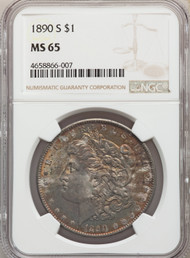 1890-S S$1 Morgan Dollar NGC MS65