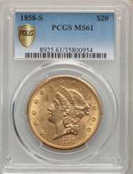 1858-S $20 Gold Liberty PCGS MS61