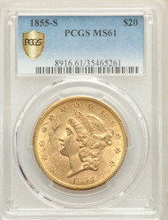 1855-S $20 Gold Liberty PCGS MS61