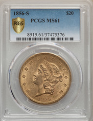 1856-S $20 Gold Liberty PCGS MS61