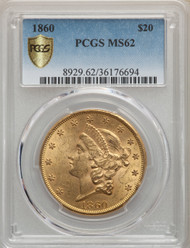 1860 $20 Gold Liberty PCGS MS62