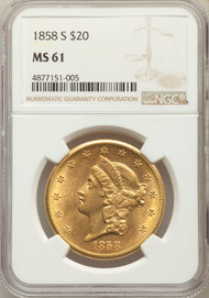 1858-S $20 Gold Liberty NGC MS61