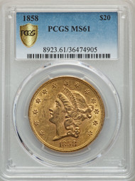 1858 $20 Gold Liberty PCGS MS61