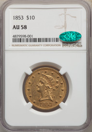 1853 $10 Gold Liberty NGC AU58 CAC
