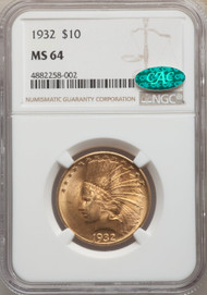 1932 $10 Gold Indian Eagles NGC MS64 CAC