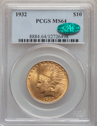 1932 $10 Gold Indian Eagles PCGS MS64 CAC