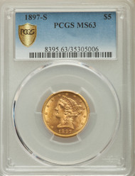 1897-S $5 Gold Liberty PCGS MS63