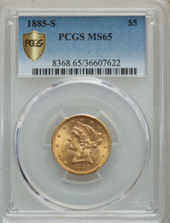 1885-S $5 Gold Liberty PCGS MS65