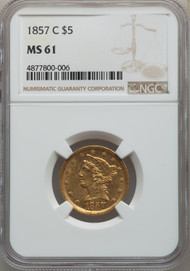 1857-C $5 Gold Liberty NGC MS61