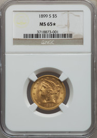 1899-S $5 Gold Liberty NGC MS65*