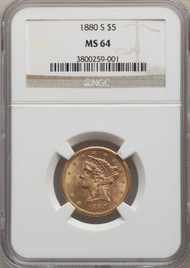 1880-S $5 Gold Liberty NGC MS64