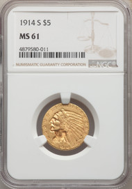 1914-S $5 Gold Indian NGC MS61