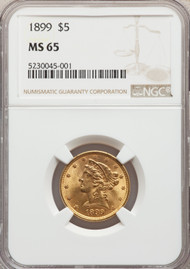 1899 $5 Gold Liberty NGC MS65