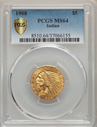 1908 $5 Gold Indian PCGS MS64