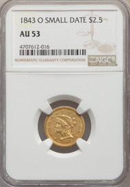 1843-O Small Date $2 1/2 Gold Liberty NGC AU55