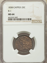 1838 25c Capped Bust Quarter NGC MS64 B-1