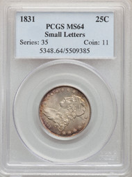 1831 25c Capped Bust Quarter PCGS MS64 Small Letters