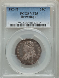 1824/2 25c Capped Bust Quarter PCGS VF25 Browning 1