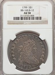 1799 S$1 Draped Bust Dollar NGC AU58 BB-160, B-12