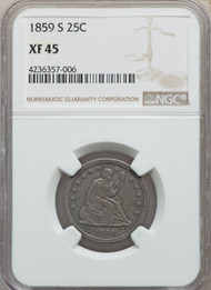 1859-S 25c Seated Liberty Quarter NGC XF45