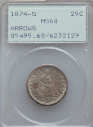 1874-S 25c Seated Liberty Quarter PCGS MS60 Arrows