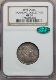 1893-O 25c Barber Quarter NGC MS64 CAC Richmond Collection