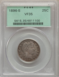 1896-S 25c Barber Quarter PCGS VF35