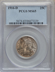 1916-D 25c Barber Quarter PCGS MS65