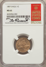 1857 1c Flying Eagle Cent NGC MS65