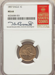 1857 1c Flying Eagle Cent NGC MS64