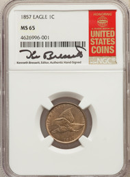 1857 1c Flying Eagle Cent NGC MS65 - 731817084