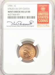 1904 1c Indian Head Cent NGC MS64 RB Mint Error 5% Off Center