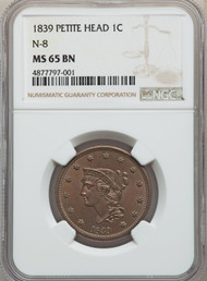 1839 1c Large Cent PCGS MS65 BN Petite Head