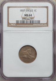1857 1c Flying Eagle Cent NGC MS64 - 738183001