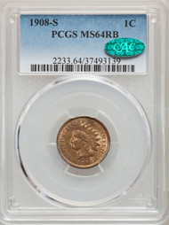 1908-S 1c Indian Head Cent PCGS MS64 RB CAC