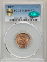 1889 1c Indian Head Cent PCGS MS65+ RD CAC