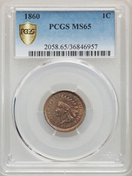 1860 1c Indian Head Cent PCGS MS65