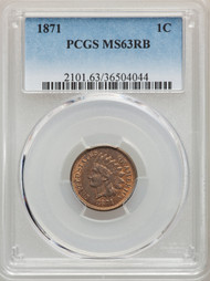 1871 1c Indian Head Cent PCGS MS63 RB