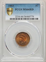 1903 1c Indian Head Cent PCGS MS66 RD