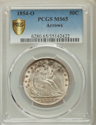 1854-O 50c Seated Liberty Half Dollar PCGS MS65 Arrows
