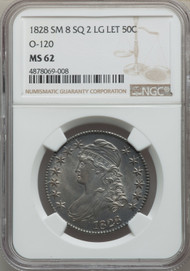 1828 50c Capped Bust Half Dollar NGC MS62 SM8 SQ 2 LG LET