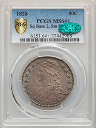 1828 50c Capped Bust Half Dollar PCGS MS64 CAC Sq Base 2,  Sm 8