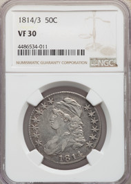 1814/3 50c Capped Bust Half Dollar NGC VF30