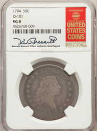 1794 50c Flowing Hair Half Dollar NGC VG8 0-101
