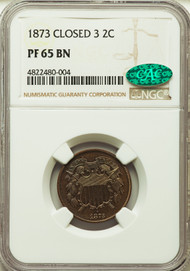 1873 2c Two Cent Piece NGC PF65BN CAC Closed 3