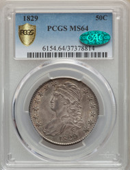 1829 50c Capped Bust Half Dollar PCGS MS64 CAC