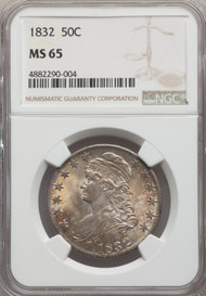 1832 50c Capped Bust Half Dollar NGC MS65