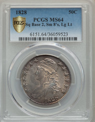 1828 50c Capped Bust Half Dollar PCGS MS64 Sq Base 2, Small 8's, Lg Lt